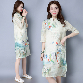 Women's Retro Mulberry Silk Print Slit Stand Collar Cheongsam