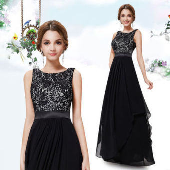 Women's Revealing Chiffon Maxi Evening Dress (Black)