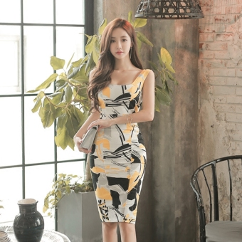 Women's Revealing Print Slim Fit Sleeveless Dress