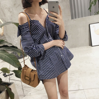 Women's Revealing Striped Boat Neck Off Shoulder Cami Strap Shirt (White strip)