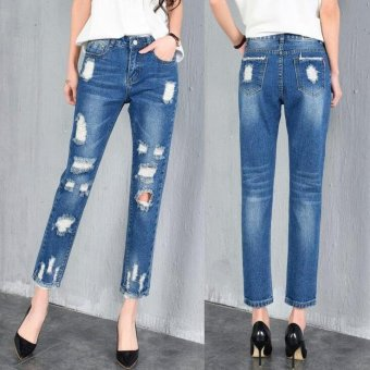 Women's ripped jeans Fashion jeans for woman Loose hole denim pants - Blue - intl