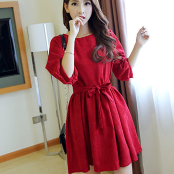 Women's Round Neck Pullover Puff Sleeve Tunic Corduroy Three-quarter Sleeve A Line Short Dress