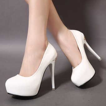 Women's Round Toe Platform Bridal High Heels Fashion Party Shoes White - INTL