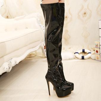 Women's Round Toe Platform High Heels London Over the knee Boots Black - intl - 4