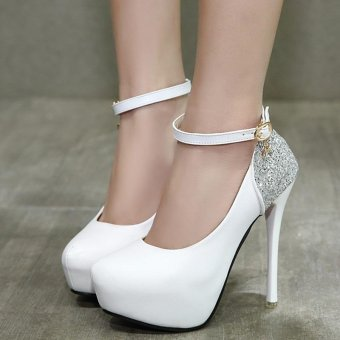 Women's Round Toe Platform Sandals Korean Party High Heels White - intl
