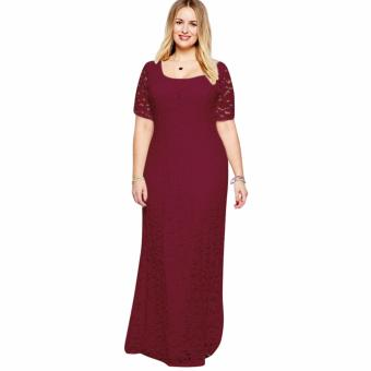 Women's Sexy Lace Long Dress Plus Size Wine Red - intl