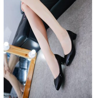Women'S Shoes With Thick Heel Pu Leather Mid Heel Shoes(Black) - intl - 4