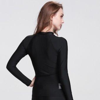 Women's Skins Long Sleeve Rashguard Surfing Shirts Tee Snorkeling Shirt Swim Diving Beach Tops Sunscreen Swimwear ? Black - 2