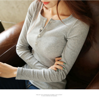 Women's Slim Fit Solid Color Cotton Long Sleeve T-Shirt 4 Colors (Gray)