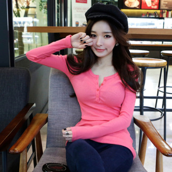 Women's Slim Fit Solid Color Cotton Long Sleeve T-Shirt 4 Colors (Red)