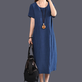 Women's Solid Color Fired Linen Long Dress (Blue)