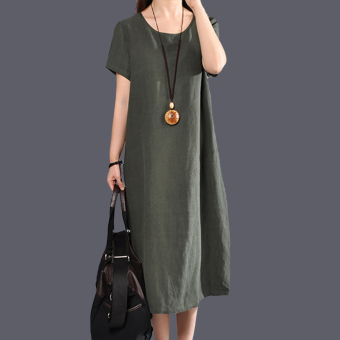 Women's Solid Color Fired Linen Long Dress (Dark green color)