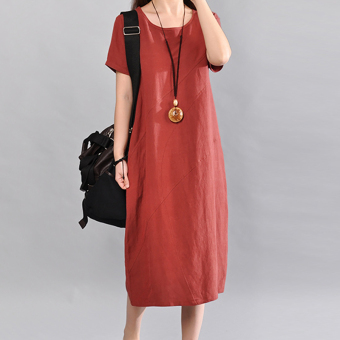 Women's Solid Color Fired Linen Long Dress (Rust red)