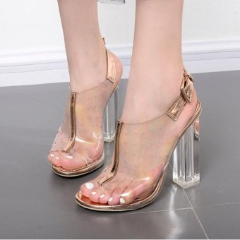 Women's Square Heel Sandals Fashion High Heels Gold - intl
