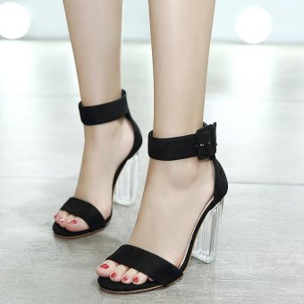 Women's Square Heel Sandals Japanese High Heels Black - intl - 2