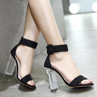 Women's Square Heel Sandals Japanese High Heels Black - intl - 3