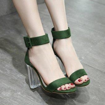 Women's Square Heel Sandals Japanese High Heels Green - intl - 3