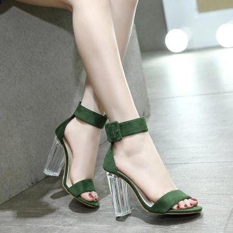 Women's Square Heel Sandals Japanese High Heels Green - intl - 4
