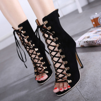 Women's Stiletto High Heels Shoes London Sandals with Rivets Checkered