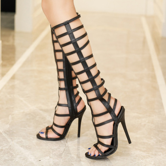 Women's Stiletto Sandals European High Heels with Cut Out Black - 2