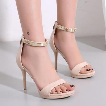 Women's Stiletto Sandals London Plus-size Ankle Strap Heels Apricot - intl