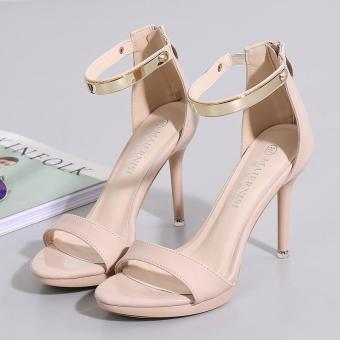 Women's Stiletto Sandals London Plus-size Ankle Strap Heels Apricot - intl - 3