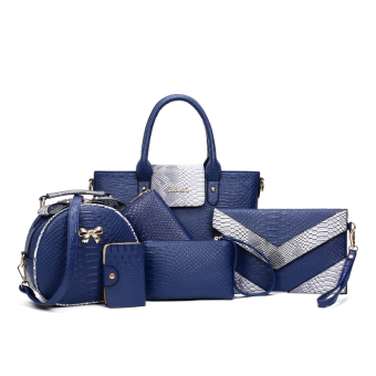 Women's Stylish Crocodile Grain Bags Set (Blue)