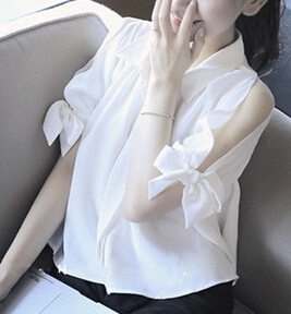 Women's Stylish Off Shoulder Bowtie Short Sleeve Shirt - White