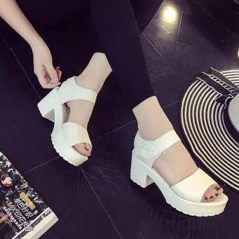 Women's Summer Solid Casual Peep Toe Middle Block Heels Sandals Leather Shoes D161 White(EU:41)(OVERSEAS) - intl - 3