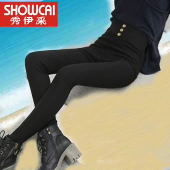 Women's Thin High Waist Skinny Tight Pants Color Varies (Button sewing version of black)
