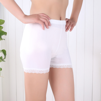 Women's Thin Lace Plus Size Safety Shorts Color Varies (Three points lace-white)