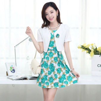 Women's Two-piece Print Short Sleeve Dress Color Varies (Blue Flower)