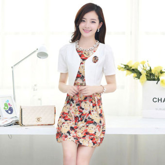 Women's Two-piece Print Short Sleeve Dress Color Varies (Casual flower)