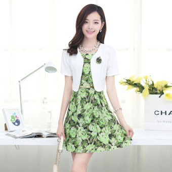 Women's Two-piece Print Short Sleeve Dress Color Varies (Green flower)