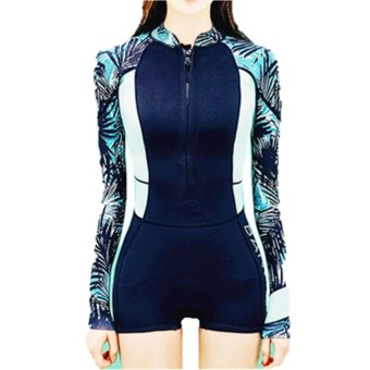 Women's UV Sun Protection UPF 50+ Rash Guard Surf Long Sleeve Two Piece Bathing Suit- Navy Blue - intl