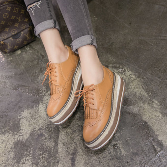 Women's Wedge Brogue Shoes London Loafers Brown
