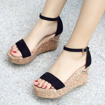 Women's Wedge Sandals Fashion Party Shoes Black - intl