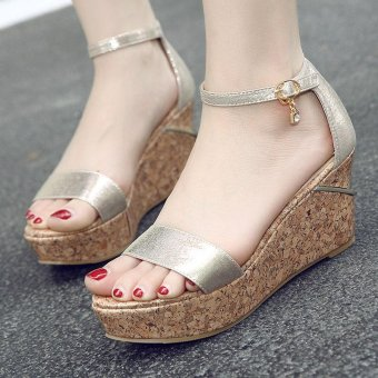 Women's Wedge Sandals Fashion Party Shoes Gold - intl