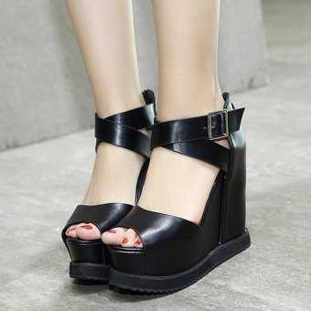 Women's Wedge Shoes Fashion Sandals Black - intl