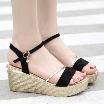 Women's Wedge Sling Back Shoes Fashion Espadrille Sandals Black - intl - 2