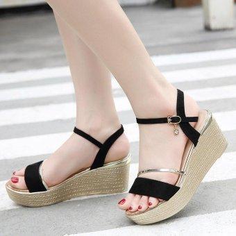 Women's Wedge Sling Back Shoes Fashion Espadrille Sandals Black - intl - 3