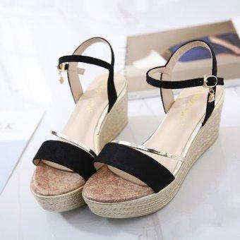 Women's Wedge Sling Back Shoes Fashion Espadrille Sandals Black - intl - 4