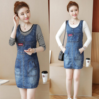 Women's Young Two-piece Denim Dress & T-Shirt - Black - Striped (Striped t + denim dress)