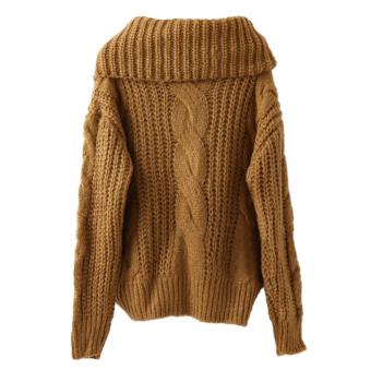 Womenenooe Cardigan Knitted Sweater Juper Outwear Coat Top (Khaki) - 5