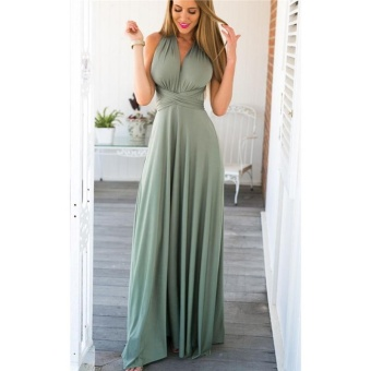 Women's Backless Dress Deep V Neck Long Maxi Dress for WeddingParty - intl