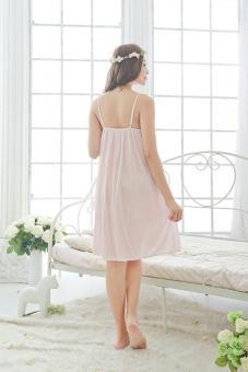 Women's Beige Top Silk Sleepwear Pajamas Nightgown NightdressLingerie - intl - 3