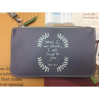 Women's Bible Verse Leather Pouch (PSALM 56:3)