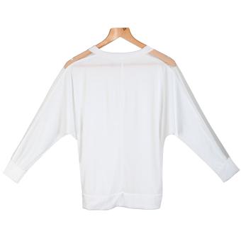 Women's Blouse T-shirt Cotton Batwing Lace Sleeve - picture 2