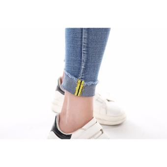 Women's Blue Skinny Jeans with Yellow Line Folded . - 2