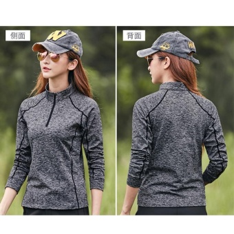Women's Breathable Quick Dry Solid Autumn Winter Warm Long SleeveShirt for Hiking Trekking Camping Climbing(Grey) - intl - 3